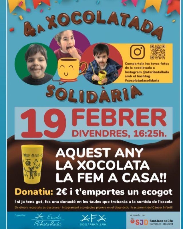 Aquest any la Xocolata la fem a casa amb els ecogots de l'AFA.   Divendres 19/02 a les 16:25 ens trobem a la porta de l'escola per col.laborar en la lluita contra el Càncer Infantil.   Publica la foto a Instagram mencionant @afaribatallada amb el hashtag #xocolatadasolidaria menjant la teva xocolata. 🍫  Ens ajudes a tacar-nos pel  càncer infantil? 💜  Iep !👆 i si ja tens got també pots aportar el teu granet de sorra amb la teva aportació.   Iep!👆👆i si divendres no pots venir també pots  fer la donació entrant a  https://xocolatadasolidaria.org/landing/donacio.html  indicant el codi 1668.  🎈🎈Fàcil, oi? 🎈🎈  TOTS els diners recaptats aniran directament cap a la investigació del càncer infantil a l'hospital Sant Joan de Déu.   #xocolatasolidària  #montemunboncacau  #laxoxolatalafemacasa #lluitacontraelcancerinfantil  @sxocolatada @sjdhospitalbarcelona
