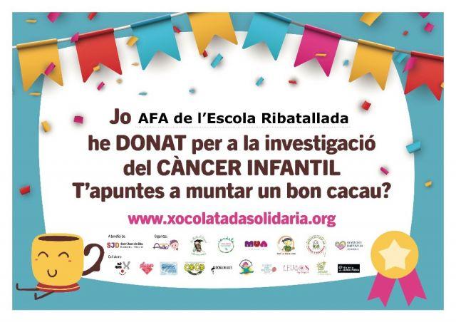 Moltes gràcies famílies 😘 Aquest divendres hem recollit 300€ per la @sxocolatada‼️ Recorda publicar la foto a Instagram fent o menjant la xocolata amb l'ecogot de l'AFA mencionant @afaribatallada amb el hashtag #xocolatadasolidaria. 🍫 També podeu seguir fent donacions entrant a  https://xocolatadasolidaria.org/landing/donacio.html indicant el codi 1668.  #nopareumai #seguim #xocolatasolidària  #montemunboncacau  #laxoxolatalafemacasa #lluitacontraelcancerinfantil  @sxocolatada @sjdhospitalbarcelona @sjdhospitalbarcelona. #paralosvalientes #xocolatadasolidaria #diainternacionallluitacàncerinfantil #pediatriccancercenter